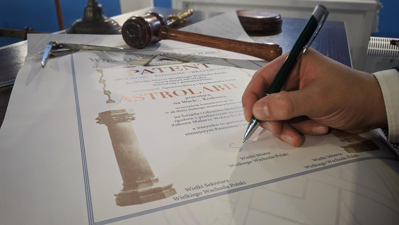 Patent WWP Szanownej Loży Astrolabium
